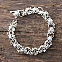 Men's sterling silver link bracelet, 'Bold Polish' - High-Polish Sterling Silver Men's Bracelet from India