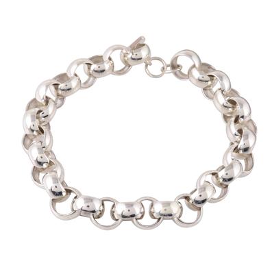 Men's sterling silver link bracelet, 'Bold Polish' - High-Polish Sterling Silver Men's Bracelet from India