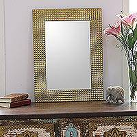 Brass wall mirror, 'Golden Squares' - Square Pattern Glass Wall Mirror from India