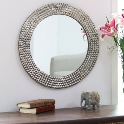 Nickel plated brass wall mirror, 'Gleaming Squares' - Circular Nickel Plated Brass Wall Mirror from India