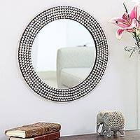 Nickel plated brass wall mirror, 'Happy Hearts' - Heart Motif Nickel Plated Brass Wall Mirror from India