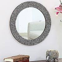 Nickel plated brass wall mirror, 'Happy Stars' - Star Motif Nickel Plated Brass Wall Mirror from India