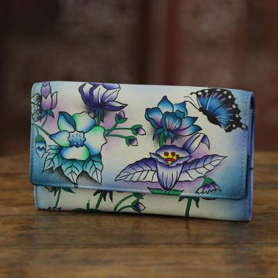 Leather wallet, 'Summer Paradise' - Floral and Butterfly Motif Leather Wallet from India