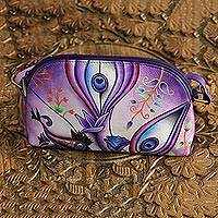 Leather sling, 'Purple Enigma' - Floral Leather Sling in Purple from India