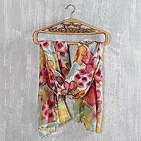 Wool shawl, 'Spring Fest' - Multicolored Floral Wool Shawl from India