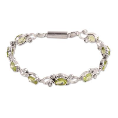 Peridot and Sterling Silver Garden Motif Link Bracelet