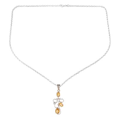 Citrine Sterling Silver Bud on Vine Motif Pendant Necklace