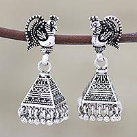 Sterling silver chandelier earrings, 'Peacock Pyramids' - Sterling Silver Peacock Chandelier Earrings from India