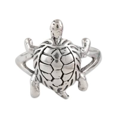 Sterling Silver Turtle Cocktail Ring from india