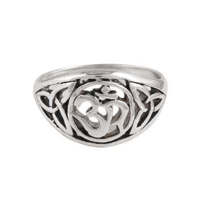 Sterling Silver Om Pattern Band Ring from India
