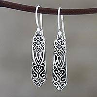 Sterling silver dangle earrings, 'Creative Patterns' - Patterned Sterling Silver Dangle Earrings from India