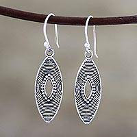 Sterling silver dangle earrings, 'Marquise Elegance' - Marquise Shape Sterling Silver Dangle Earrings from India