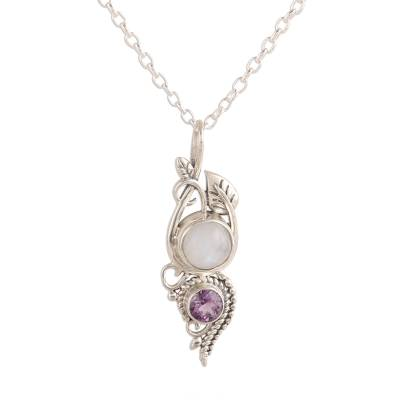 Leafy Rainbow Moonstone and Amethyst Pendant Necklace