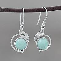 Larimar dangle earrings, 'Charismatic Leaves' - Leaf-Themed Larimar Dangle Earrings from India