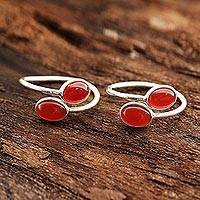 Carnelian toe rings, 'Dainty Ovals' - Oval Carnelian Toe Rings from india