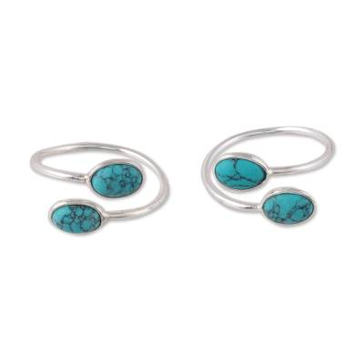 Composite turquoise toe rings, 'Dainty Ovals' - Oval Composite Turquoise Toe Rings from india