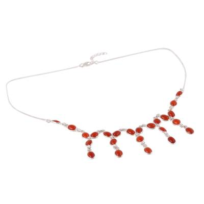 Carnelian Waterfall Necklace from India