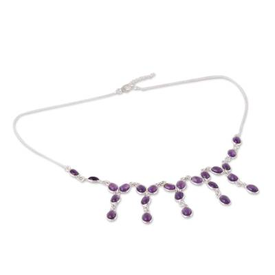 Purple Amethyst Waterfall Necklace from India