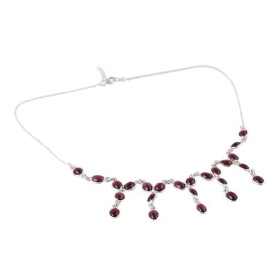 Natural Garnet Waterfall Necklace from India