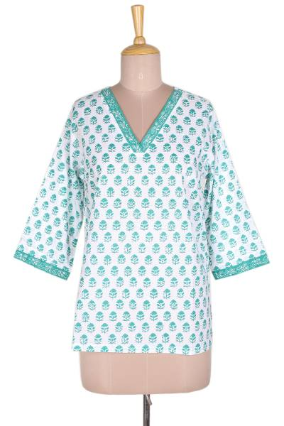 Block-printed cotton tunic, 'Emerald Garden' - Floral Block-Printed Cotton Tunic in Emerald from India