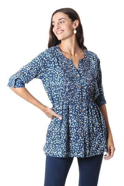 Block-printed cotton tunic, 'Indigo Jungle' - Vine Motif Block-Printed Cotton Tunic in Indigo from India