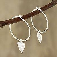 Sterling silver dangle earrings, 'Arrowhead Dance' - Modern Sterling Silver Dangle Earrings from India