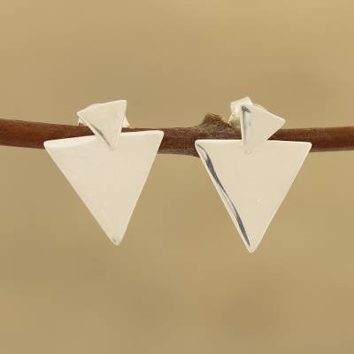 Sterling silver dangle earrings, 'Shiny Triangles' - Triangular Sterling Silver Dangle Earrings from India