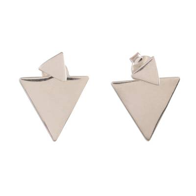 Triangular Sterling Silver Dangle Earrings from India
