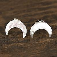 Sterling silver button earrings, 'Beautiful Crescents' - Crescent-Shaped Sterling Silver Button Earrings from India