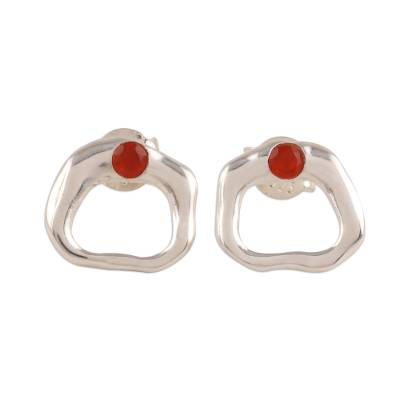 Abstract Carnelian Stud Earrings Crafted in India