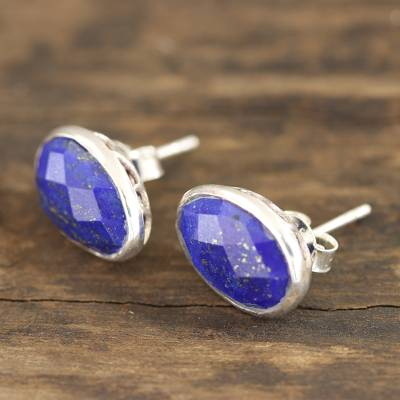 Lapis lazuli button earrings, 'Sparkling Eggs' - Egg-Shaped Lapis Lazuli Button Earrings from India