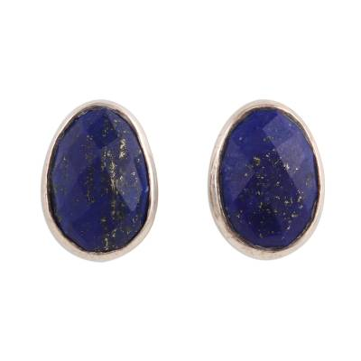 Egg-Shaped Lapis Lazuli Button Earrings from India