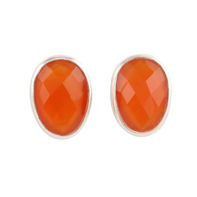 Egg-Shaped Carnelian Button Earrings from India