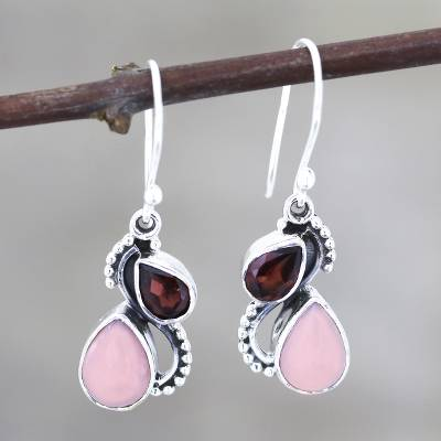 Garnet and opal dangle earrings, 'Two Teardrops' - Garnet and Opal Teardrop Dangle Earrings from India