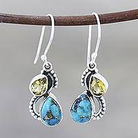 Citrine and composite turquoise dangle earrings, 'Two Teardrops' - Citrine and Composite Turquoise Teardrop Dangle Earrings