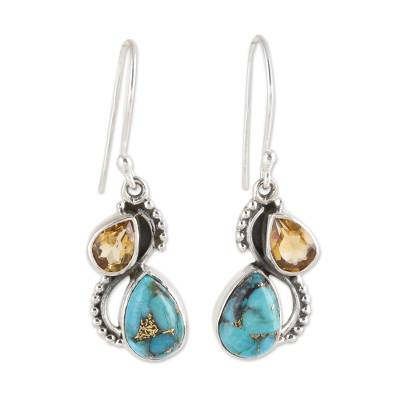 Citrine and Composite Turquoise Teardrop Dangle Earrings