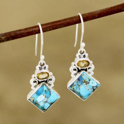 Citrine and composite turquoise dangle earrings, 'Sky Fragments' - Citrine and Composite Turquoise Dangle Earrings from India