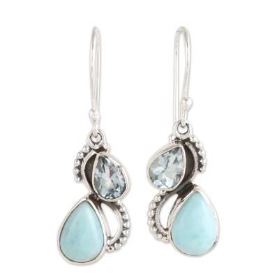 Blue Topaz and Larimar Teardrop Dangle Earrings from India