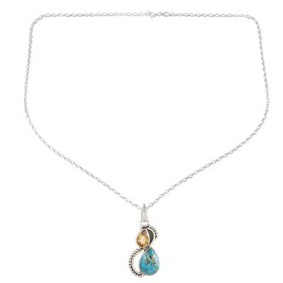 Citrine and Composite Turquoise Teardrop Pendant Necklace