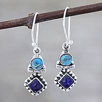Lapis lazuli and composite turquoise dangle earrings, 'Enchanting Duo' - Lapis Lazuli and Composite Turquoise Dangle Earrings