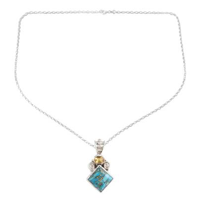 Composite Turquoise and Citrine Pendant Necklace from India
