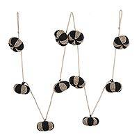 Wool felt ornament garland, 'Cute Pumpkins' - Black and Grey Wool Felt Pumpkin Ornament Garland from India