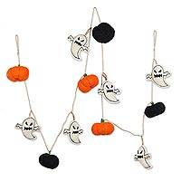 Wool felt garland, 'Haunted Flair' - Spooky Ghosts and Pumpkins Halloween Wool Felt Garland