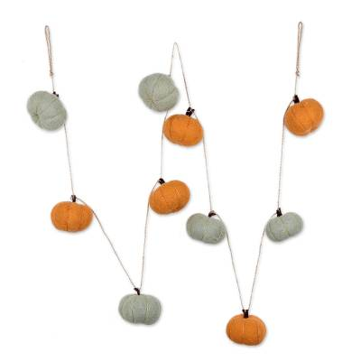 Wool felt ornament garland, 'Adorable Pumpkins' - Orange and Ivory Wool Felt Pumpkin Ornament Garland