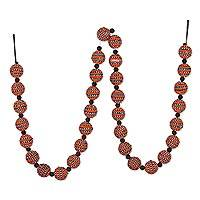 Wool felt garland, 'Harvest Dazzle' - Orange and Black Bead Rhinestone Accented Garland from India