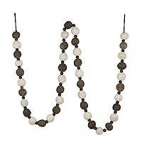 Wool felt garland, 'Elegant Strand' - Grey and Ivory Wool Felt Garland from India