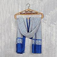 Block-printed silk scarf, 'Starry Fascination' - Geometric Lapis and Ivory Silk Wrap Scarf from India