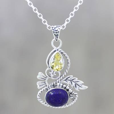 Citrine and lapis lazuli pendant necklace, Delightful Garden