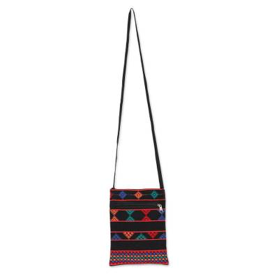 Geometric Cotton Sling in Black and Multicolor from India