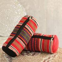 Cotton cosmetic bags, 'Striped Desire' (pair) - Multicolored Striped Cotton Cosmetic Bags from India (Pair)